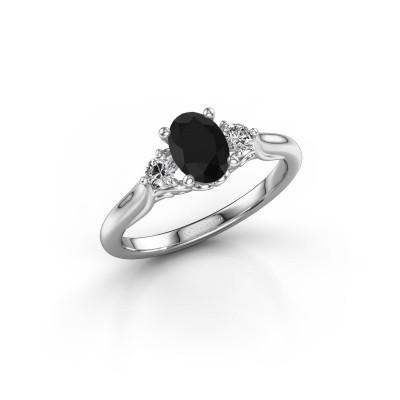 Foto van Verlovingsring Laurian OVL 585 witgoud zwarte diamant 1.16 crt