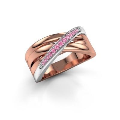 Ring Renna 2 585 rosé goud roze saffier 1 mm