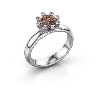 Stapelring Carola 3 585 witgoud bruine diamant 0.84 crt