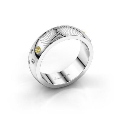 Foto van Ring Minke 925 zilver gele saffier 2 mm