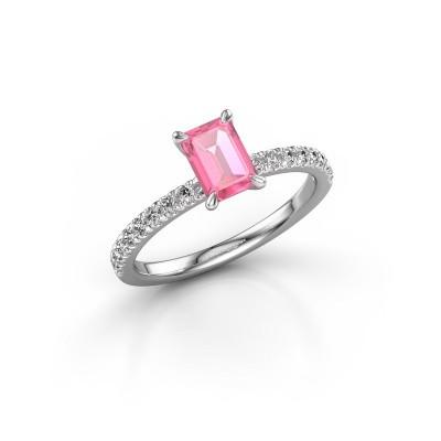 Foto van Verlovingsring Crystal EME 2 950 platina roze saffier 6.5x4.5 mm