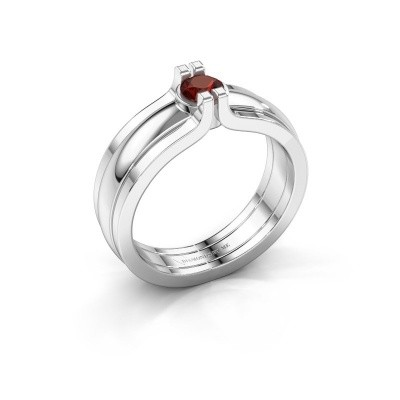 Picture of Ring Jade 925 silver garnet 4 mm