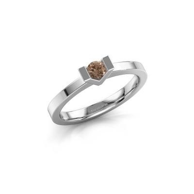 Foto van Aanzoeksring Sherley 1 585 witgoud bruine diamant 0.15 crt