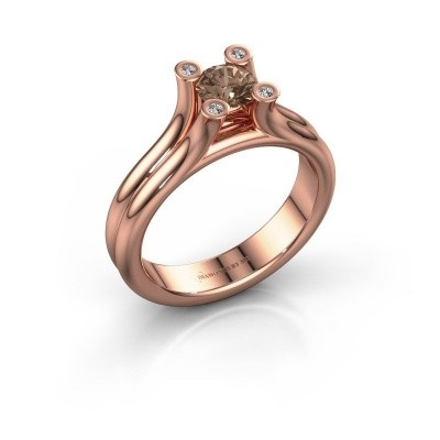 Engagement ring Stefanie 1 375 rose gold brown diamond 0.50 crt