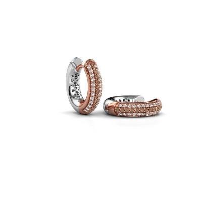 Foto van Creolen Tristan B 14 mm 585 rosé goud bruine diamant 0.322 crt