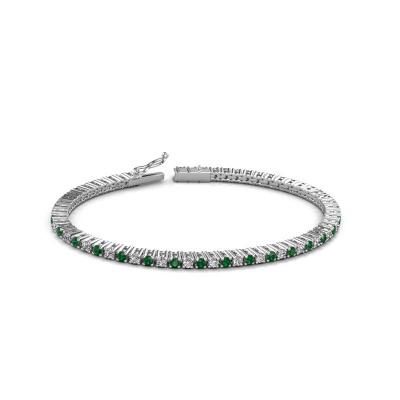 Tennisarmband Karin 2.4 mm 585 witgoud smaragd 2.4 mm