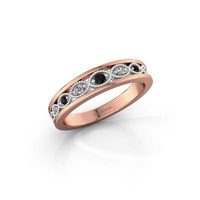Aanschuifring Laine 585 rosé goud zwarte diamant 0.139 crt
