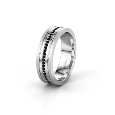Trouwring WH0404L16A 585 witgoud zwarte diamant ±6x1.7 mm