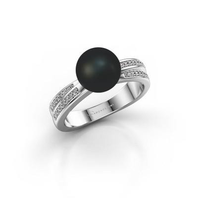 Foto van Ring Jolies 925 zilver zwarte parel 8 mm
