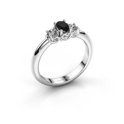 Foto van Verlovingsring Frederique 585 witgoud zwarte diamant 0.436 crt