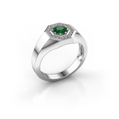 Foto van Heren ring Jaap 375 witgoud smaragd 5 mm