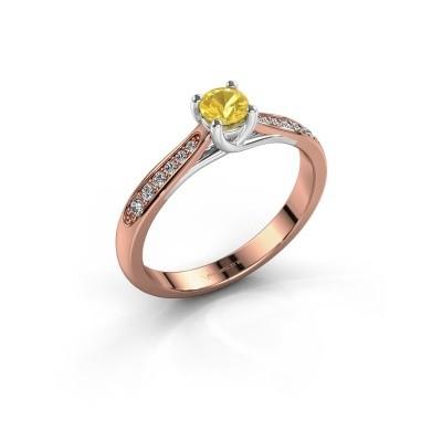 Foto van Verlovingsring Mia 2 585 rosé goud gele saffier 4.2 mm