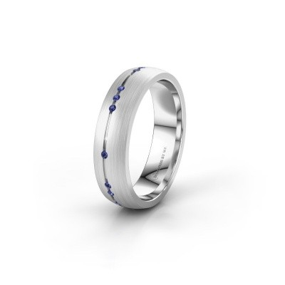 Wedding ring WH0166L25A 585 white gold sapphire ±5x1.7 mm
