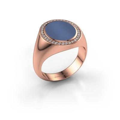 Zegel ring Adam 3 375 rosé goud blauw lagensteen 13x11 mm