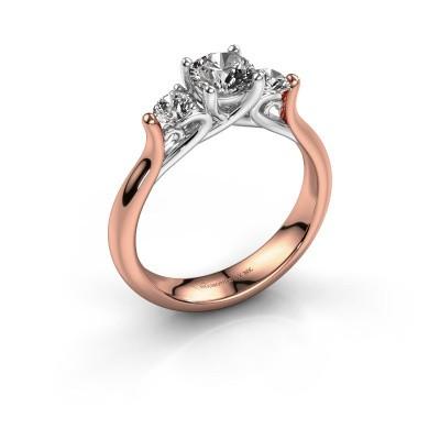 Bague de fiançailles Jente 585 or rose diamant 0.900 crt