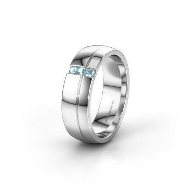 Trouwring WH0223L56A 925 zilver aquamarijn ±6x1.7 mm