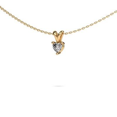 Foto van Ketting Garnet 585 goud diamant 0.25 crt