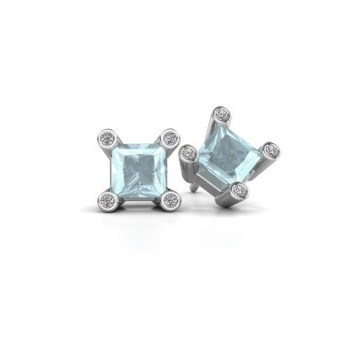 Picture of Stud earrings Cornelia Square 925 silver aquamarine 6 mm
