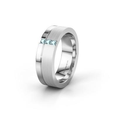 Wedding ring WH0327L16B 950 platinum aquamarine ±0.24x0.08 in
