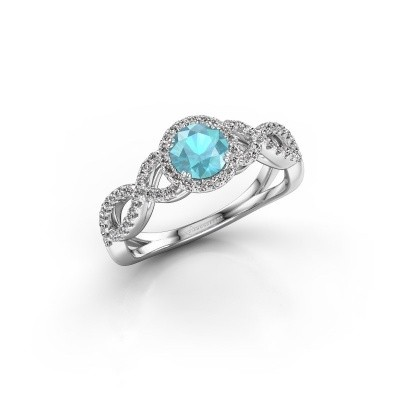 Engagement ring Dionne rnd 585 white gold blue topaz 5 mm