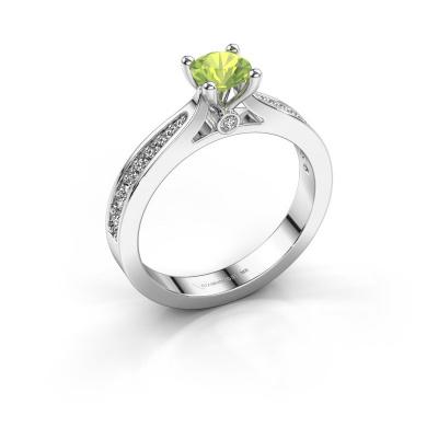 Engagement ring Evelien 950 platinum peridot 5 mm