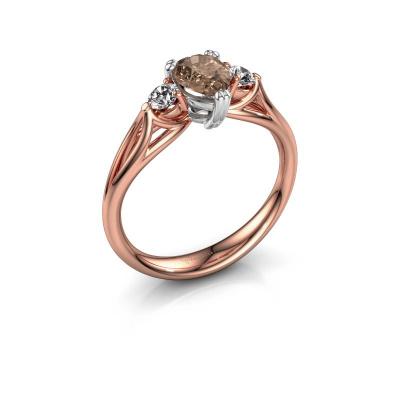Foto van Verlovingsring Amie per 585 rosé goud bruine diamant 0.85 crt