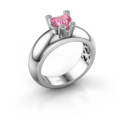 Ring Cornelia Heart 925 silver pink sapphire 6 mm