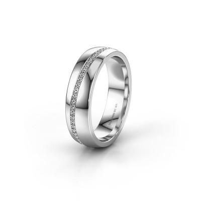 Wedding ring WH0109L25A 375 white gold diamond ±5x1.7 mm