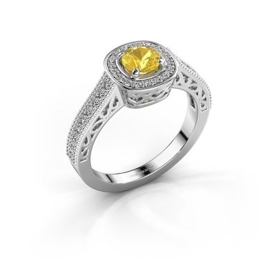 Verlovings ring Candi 950 platina gele saffier 5 mm