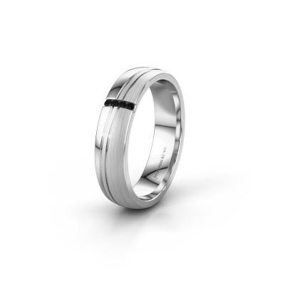 Huwelijksring WH0909L25X 950 platina zwarte diamant ±5x1.5 mm