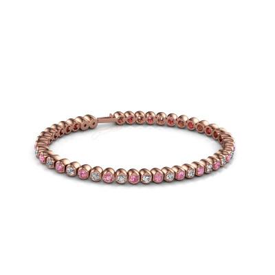 Foto van Tennisarmband Bianca 3 mm 375 rosé goud roze saffier 3 mm
