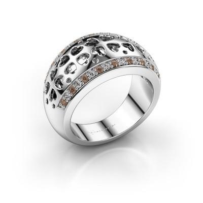 Ring Tirza 585 witgoud bruine diamant 0.340 crt