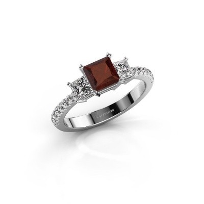 Engagement ring Dorla 585 white gold garnet 5 mm