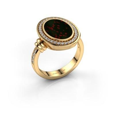 Foto van Heren ring Servie 3 585 goud heliotroop 14x10 mm