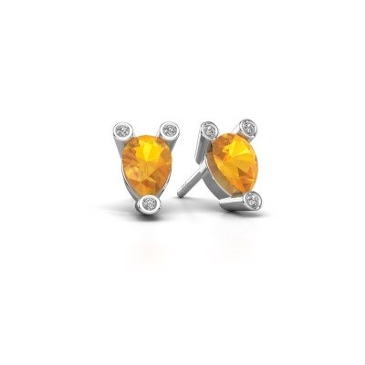 Picture of Stud earrings Cornelia Pear 925 silver citrin 7x5 mm
