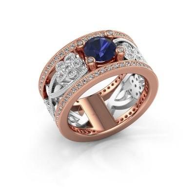 Ring Severine 585 rosé goud saffier 6 mm
