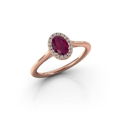 Picture of Engagement ring Seline 1 375 rose gold rhodolite 6x4 mm