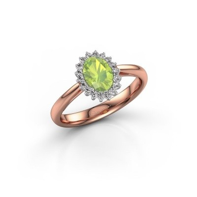 Picture of Engagement ring Tilly ovl 1 585 rose gold peridot 7x5 mm