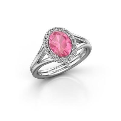 Foto van Verlovingsring Verla ovl 1 585 witgoud roze saffier 8x6 mm