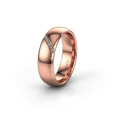 Trouwring WH0164L36B 375 rosé goud lab-grown diamant ±6x2 mm