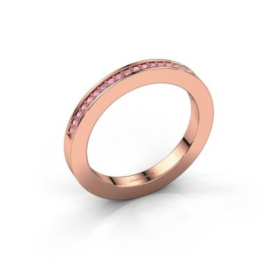 Stackable ring Loes 2 375 rose gold pink sapphire 1.1 mm