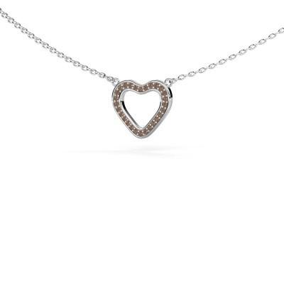 Foto van Hanger Heart 3 585 witgoud bruine diamant 0.07 crt