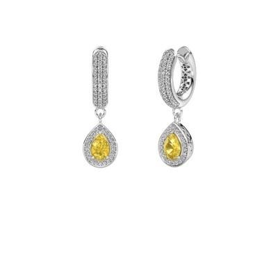 Drop earrings Barbar 2 375 white gold yellow sapphire 6x4 mm
