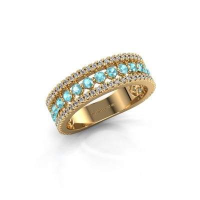 Engagement ring Elizbeth 1 375 gold blue topaz 2 mm