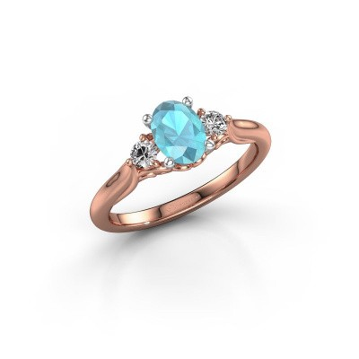 Picture of Engagement ring Laurian OVL 585 rose gold blue topaz 7x5 mm