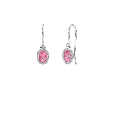 Oorhangers Seline ovl 585 witgoud roze saffier 6x4 mm