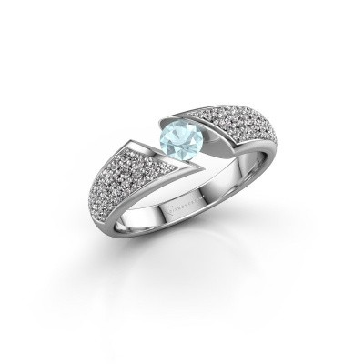 Engagement ring Hojalien 3 950 platinum aquamarine 4.2 mm