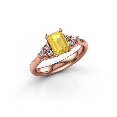 Foto van Verlovingsring Monika EME 375 rosé goud gele saffier 7x5 mm
