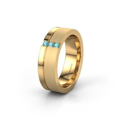 Trouwring WH0327L16B 585 goud blauw topaas ±6x2 mm