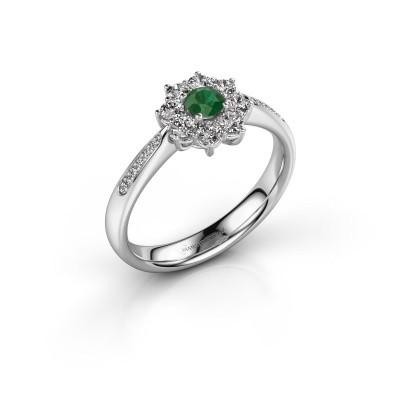 Verlovingsring Carolyn 2 950 platina smaragd 3.4 mm
